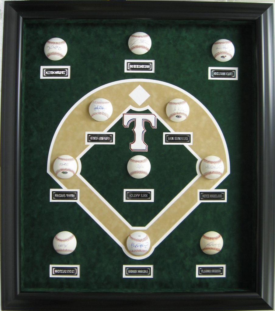 Texas Rangers baseball display case CSD Framing carrollton tx