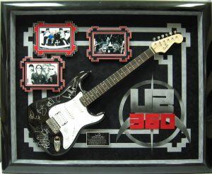 U2 guitar signed display case mat board designs csd framing