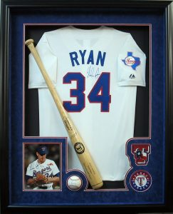 Texas Flag And Baseball Bat Nolan Ryan Jersey Frame Csd Framing